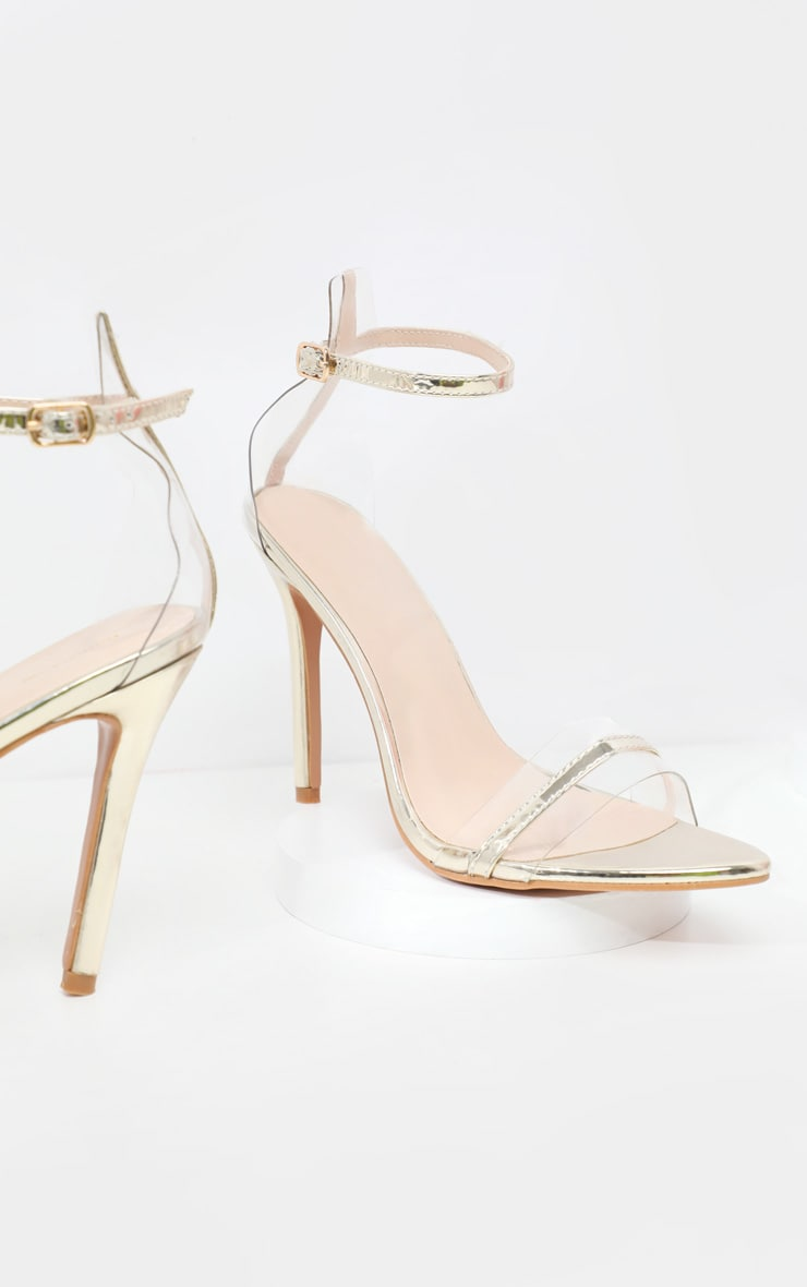 Gold Wide Fit Clear Strap Barely There Sandal  4