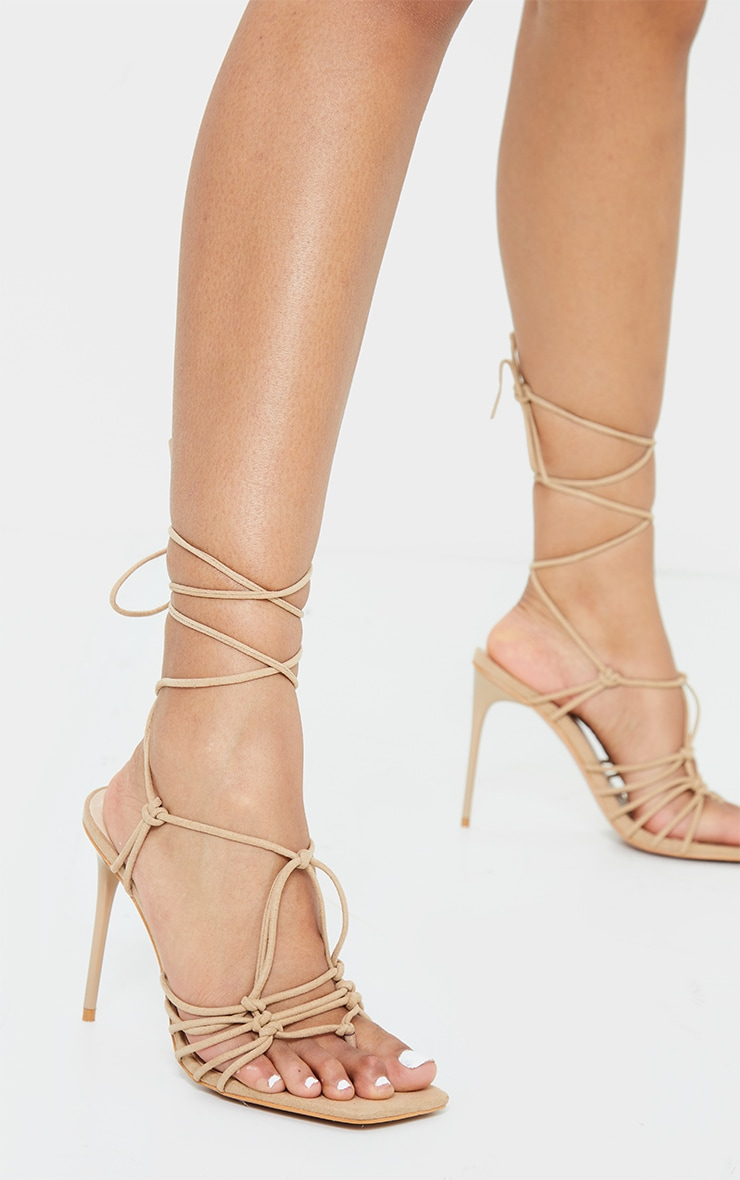 Sand Knot Detail Lace Up High Heels 2