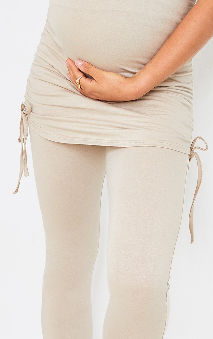 Maternity Stone and Black Two Pack Ruched Seam Leggings 4