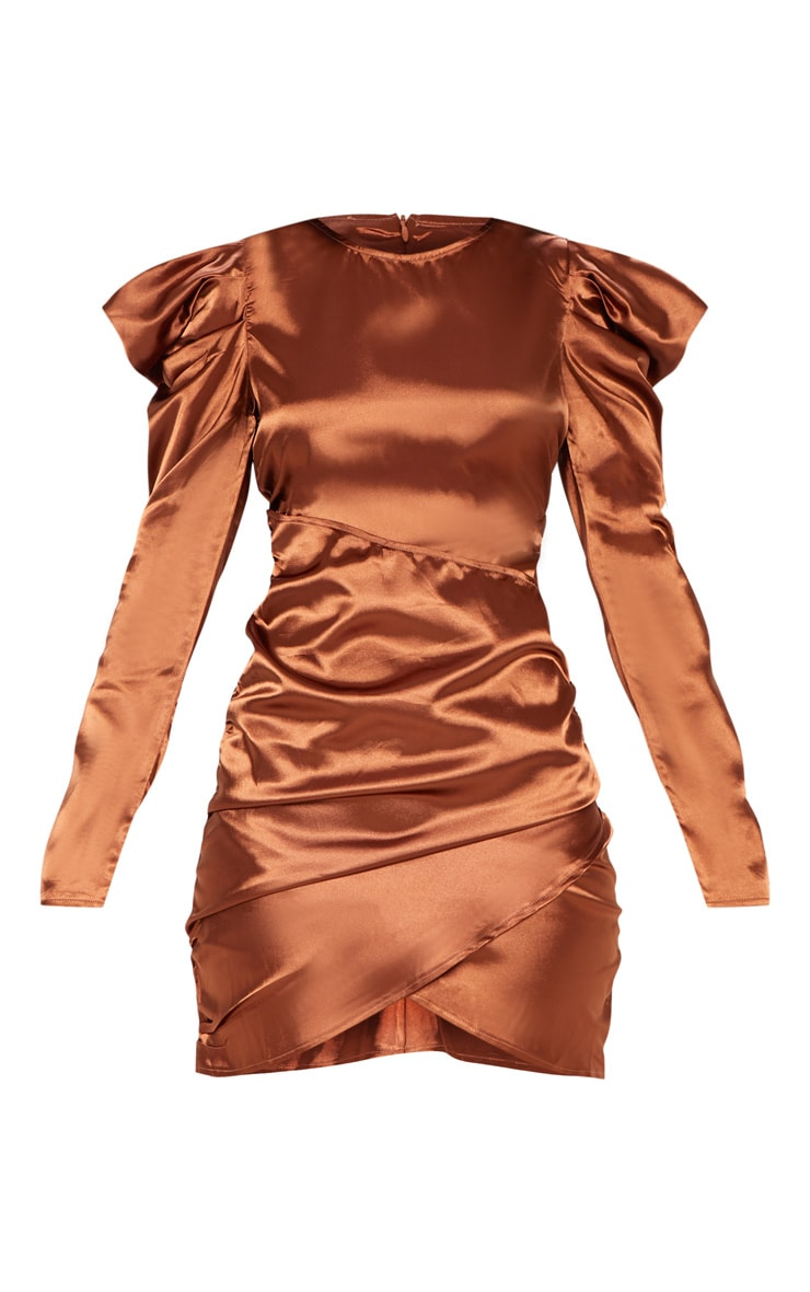 Copper Satin Puff Sleeve Ruched Bodycon Dress 3