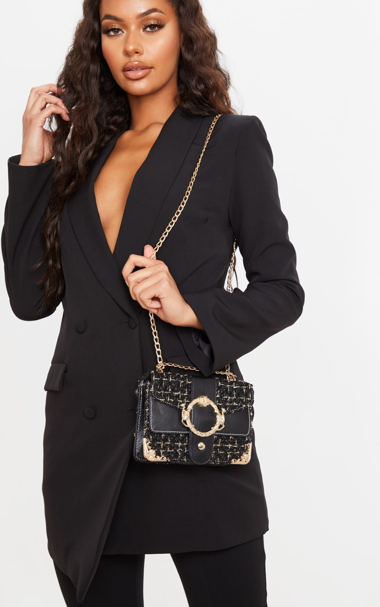 Black Tweed Gold Trim Chain Cross Body Bag 1