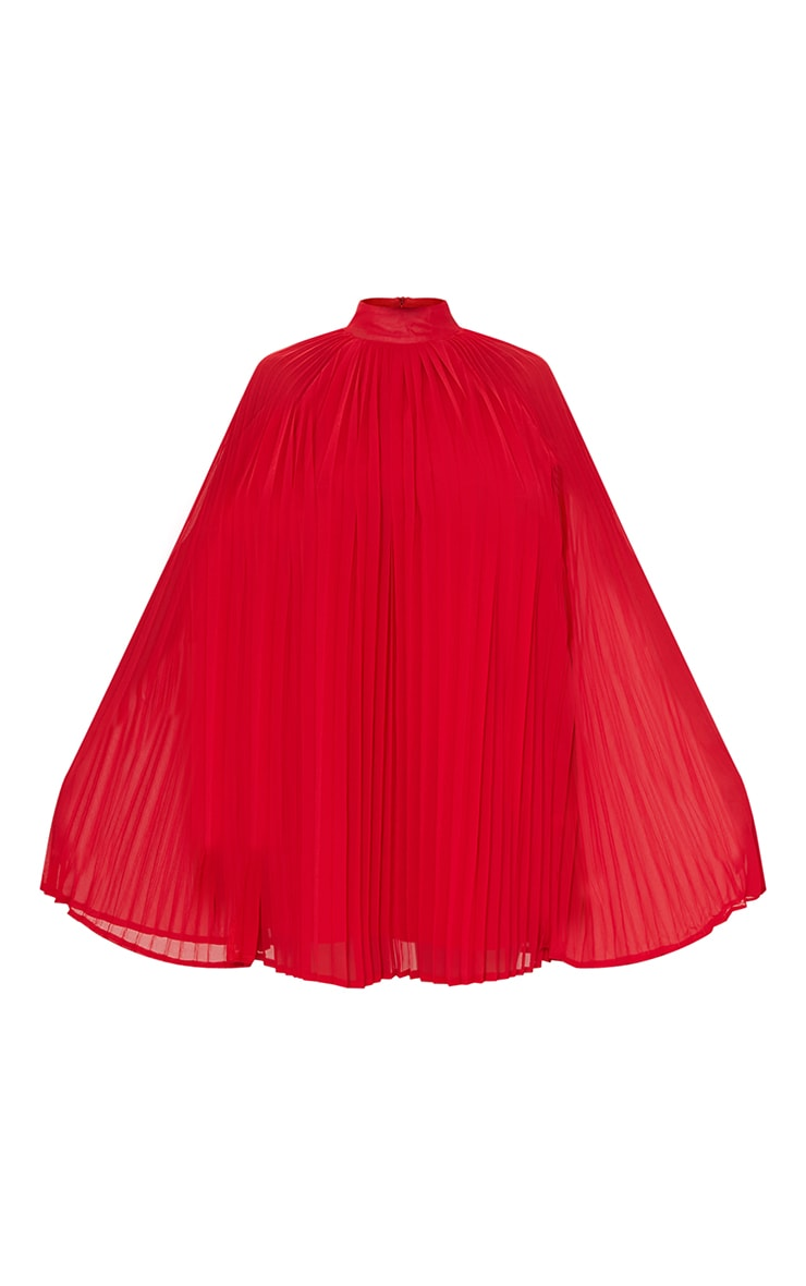 Red Pleated Cape High Neck Shift Dress 5