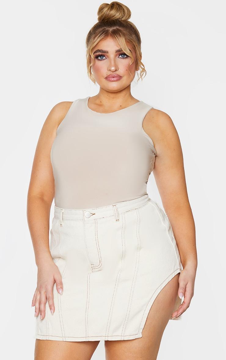 PLT Plus - Jupe en jean écru à coutures contrastantes et ourlets fendus 1