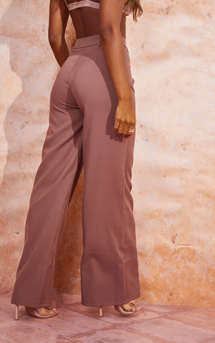 Dusty Brown Woven Tailored Wide Leg Trousers 3