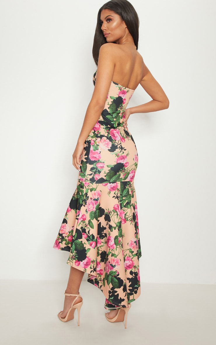 Peach Floral Bandeau Fishtail Midi Dress 1