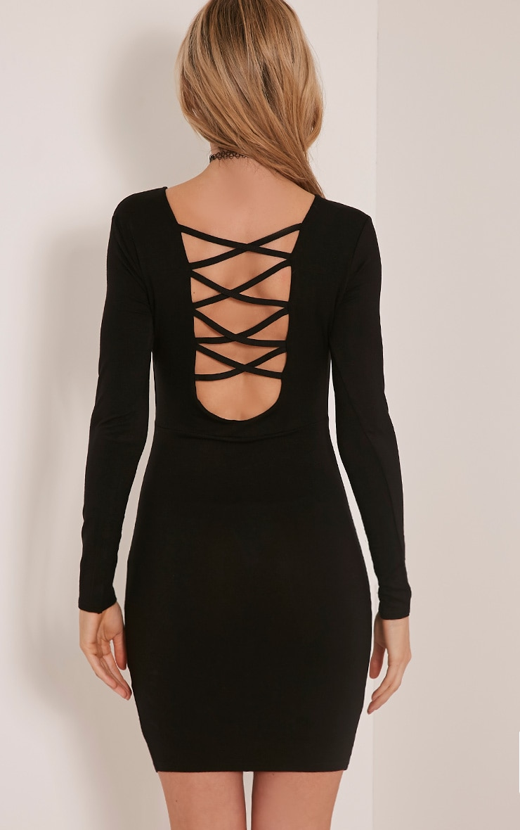 Marcy Black Strappy Back Long Sleeve Bodycon dress 3