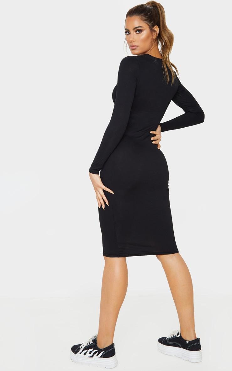 Tall Black Long Sleeve Midi Dress 2