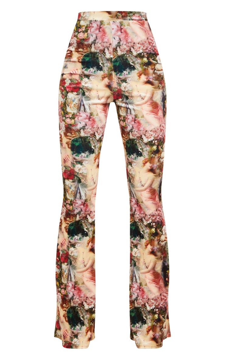 Rose Femme Renaissance Print Velvet High Waisted Flared Pants 3
