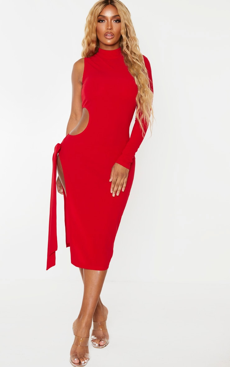 Shape Red One Sleeved Cut Out Tie Side Midi Dress 3
