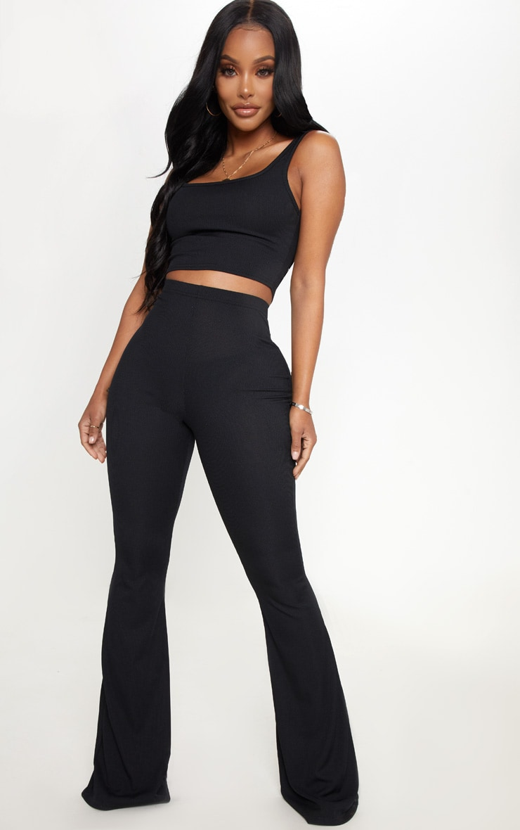 Shape Black Ribbed Scoop Neck Crop Top 4
