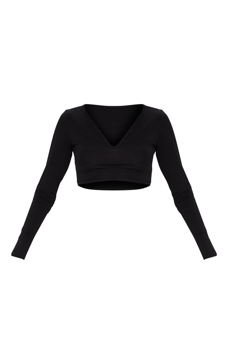 Basic Black Long Sleeve Deep V Crop Top 3