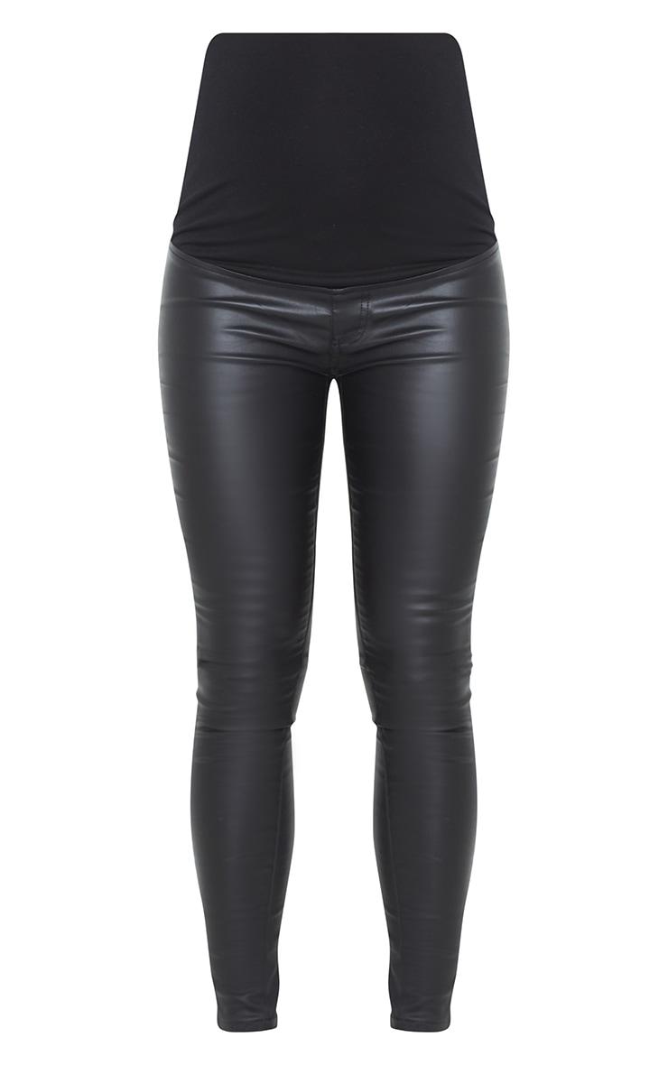 Maternity Black Coated Skinny Jeans 5