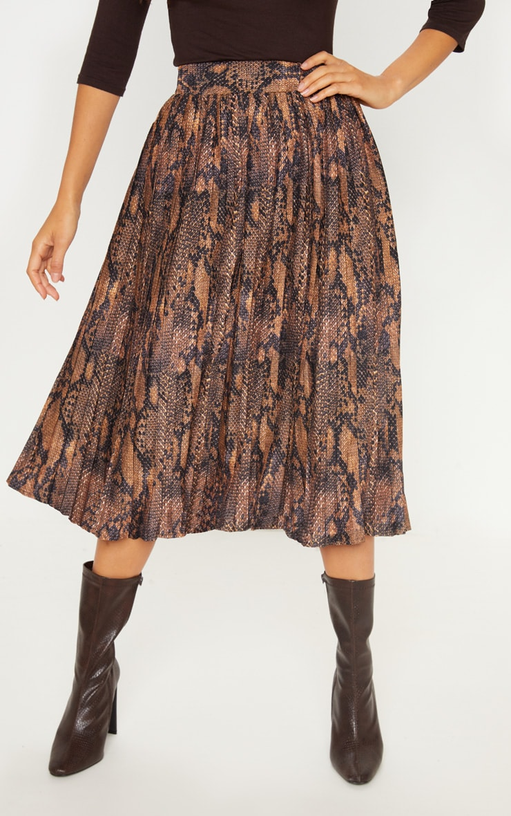 Snake Printed Pleat Midi Skirt 2