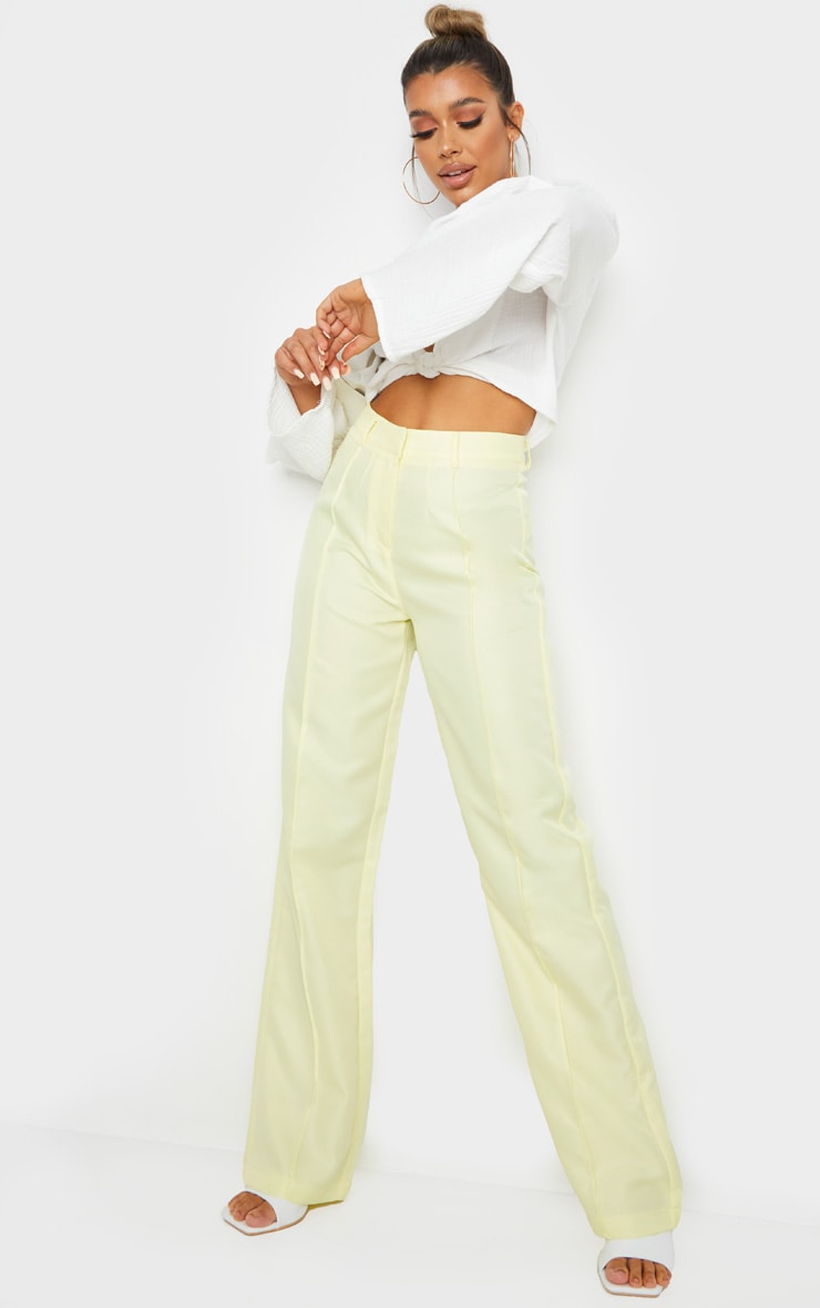 Pale Yellow Anala High Waisted Straight Leg Pants 6