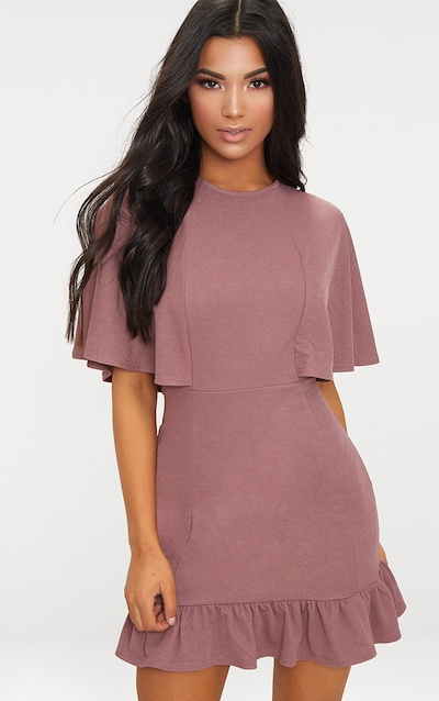 5324cbf7234 Mauve Cape Detail Frill Hem Bodycon Dress
