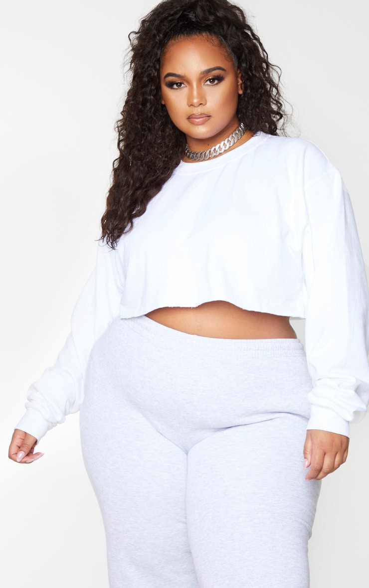 Plus White Ultimate Cropped Sweater 1