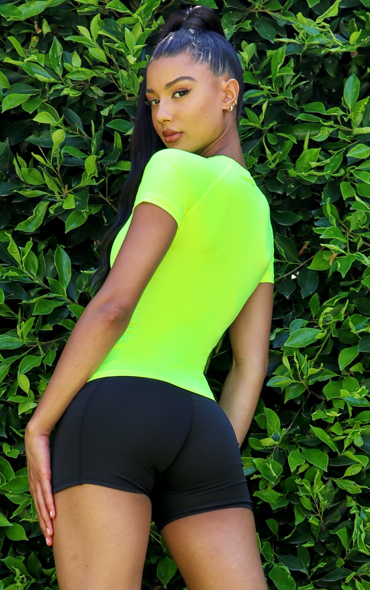 Lime Basic Fitted Gym Top 2