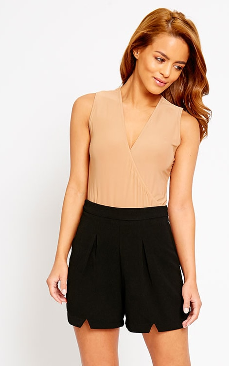 Raissa Black Notch Front High Waist Shorts 1