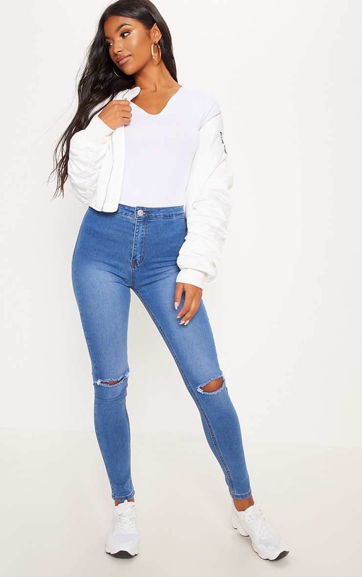 Mid Wash Knee Rip High Waisted Skinny Jean  1