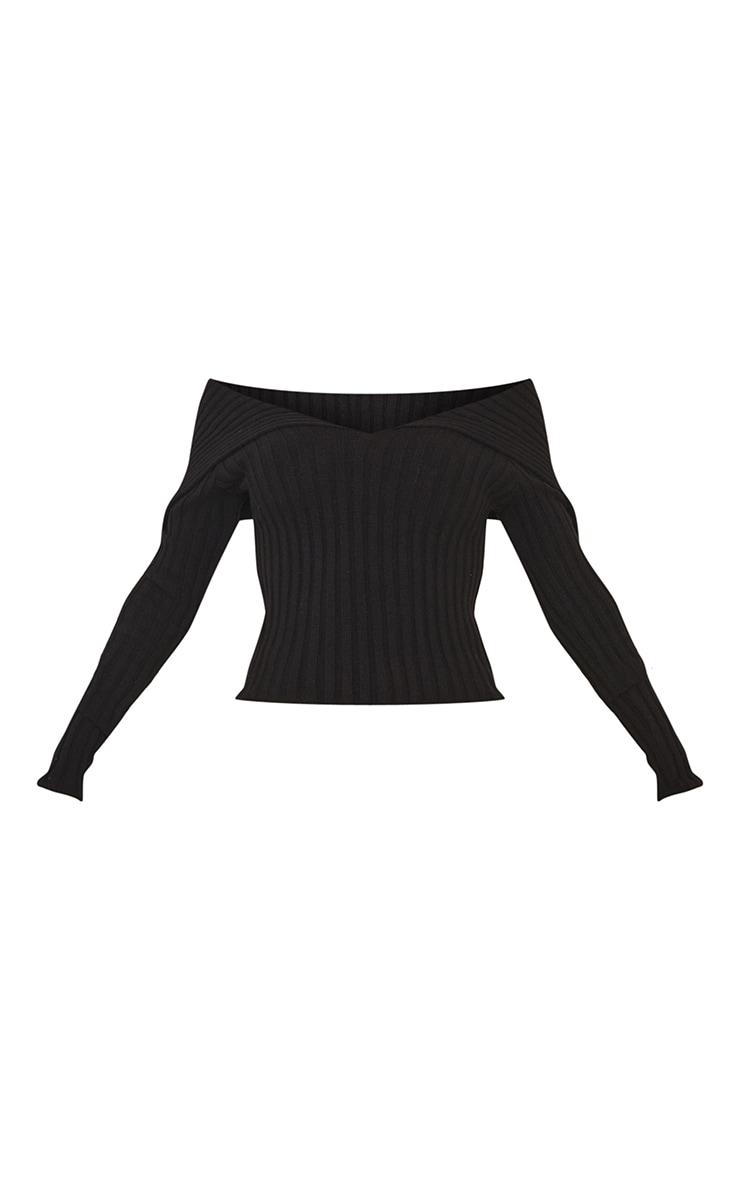 Black Off Shoulder Collar Detail Ribbed Jumper 5