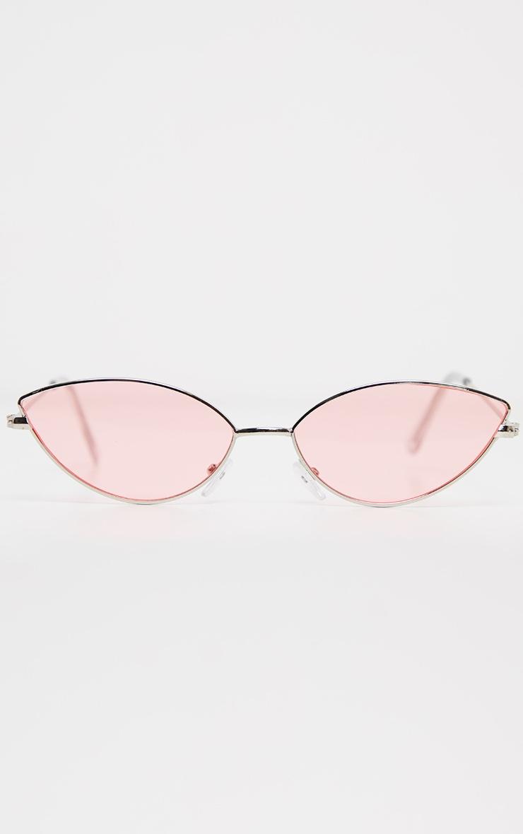 Pink Metal Almond Cat Eye Sunglasses 2