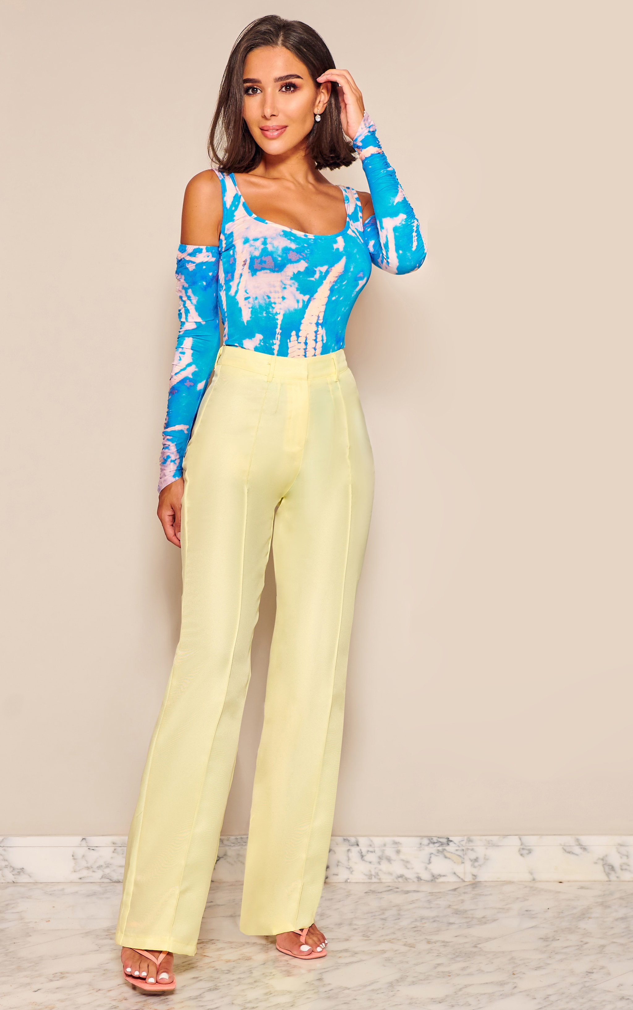 Pale Yellow Anala High Waisted Straight Leg Pants 1
