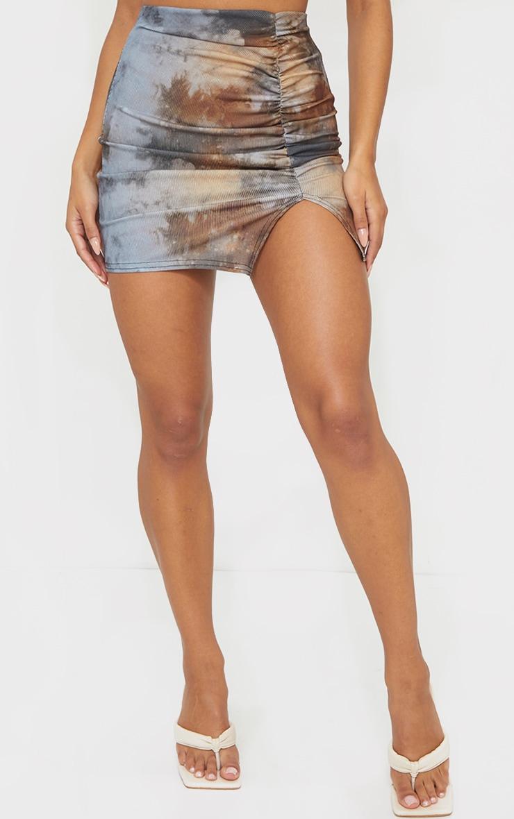 Tie Dye Rib Ruched Mini Skirt 2