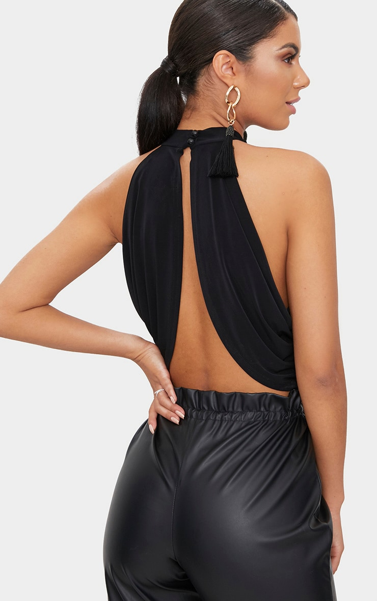Black Neck Wrap Crop Top  2