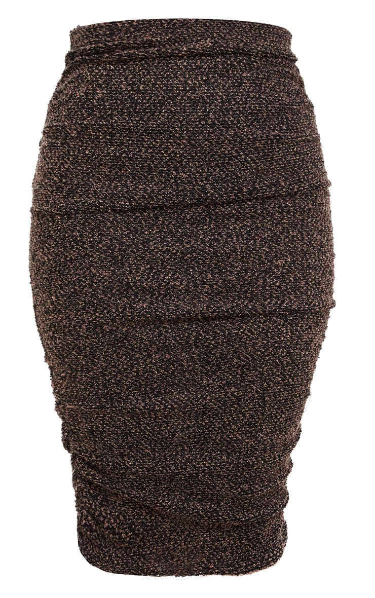 Camel Boucle Ruched Midi Skirt  3