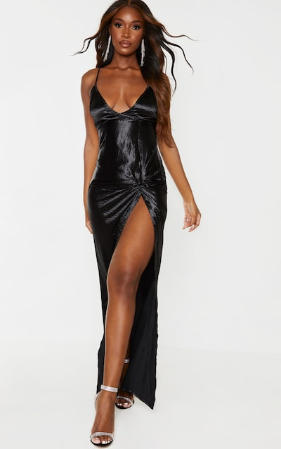 Black Satin Twist Detail Split Front Maxi Dress