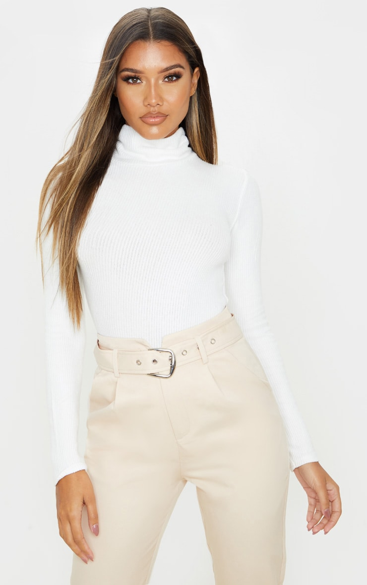 White Brushed Rib Roll Neck Long Sleeve Bodysuit 1