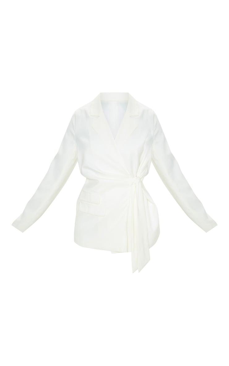 Cream Side Tie Woven Oversized Blazer 3