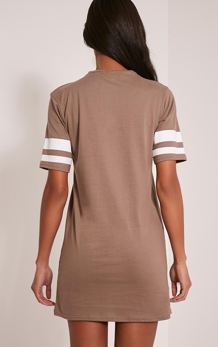 Taylia Taupe Stripe Sleeve T Shirt Dress 2