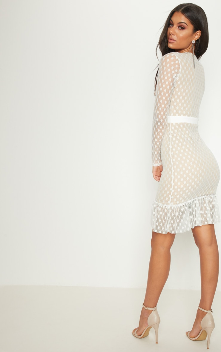 White Spotty Mesh Frill Hem Bodycon Dress 2