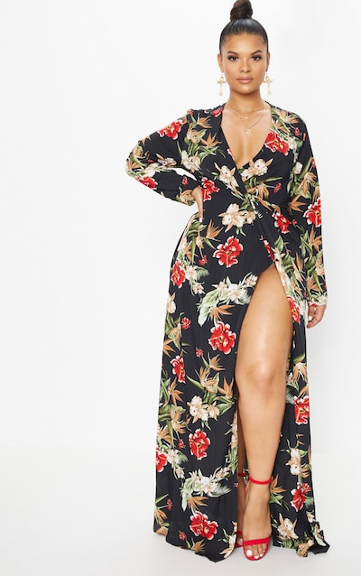 Plus Black Floral Twist Front Maxi Dress