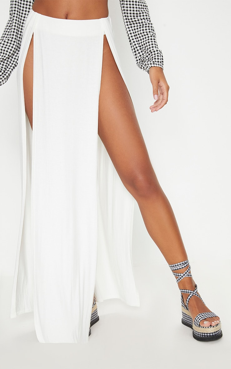 White Double Split Maxi Skirt 2