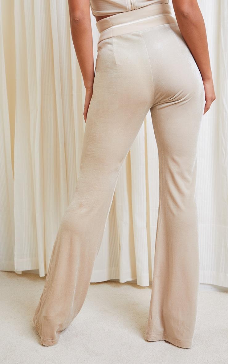 Petite Champagne Velvet Mesh Wide Leg Pants 3