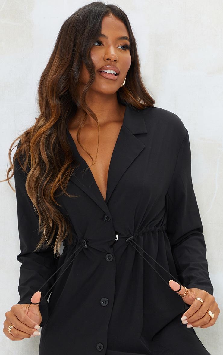Black Woven Elasticated Waist Collared Shift Dress 4