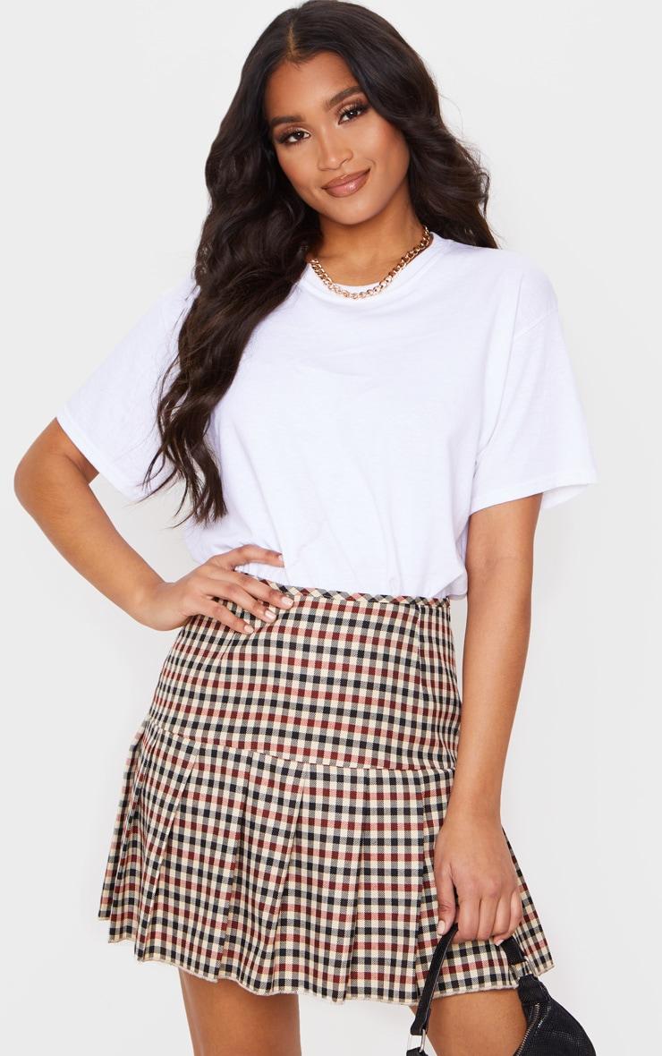 Stone Check Woven Pleated Mini Skirt 5