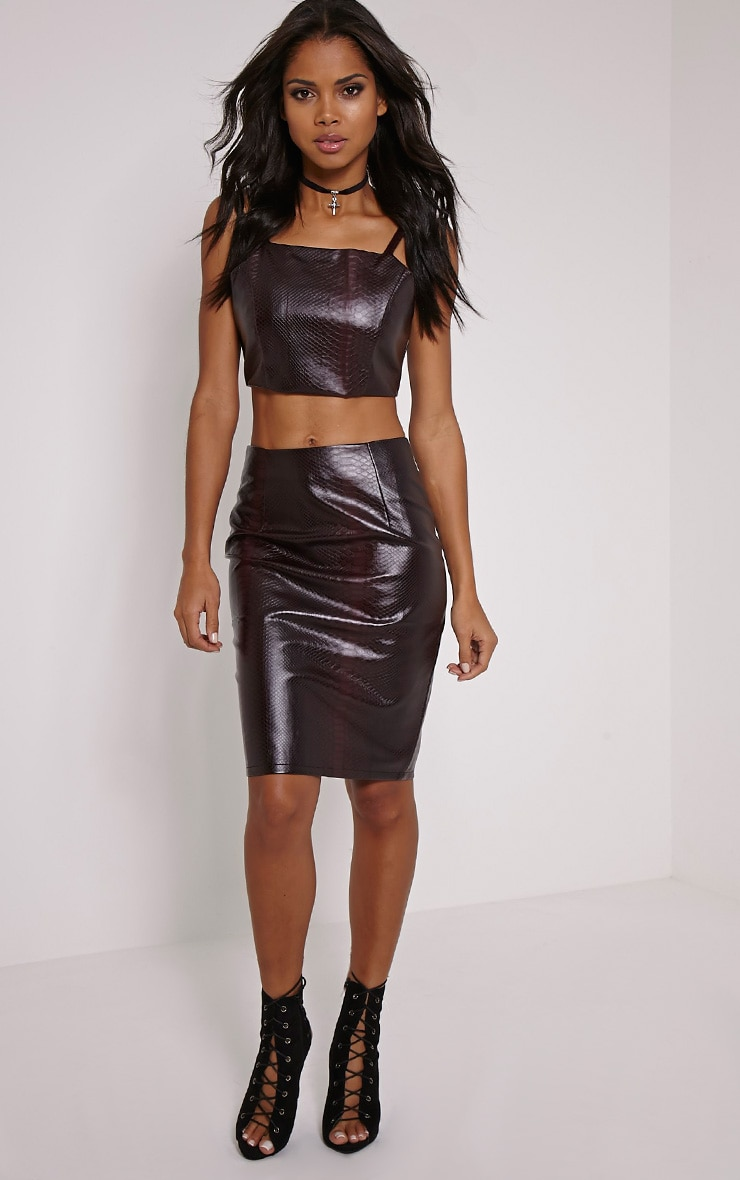 Mollie Wine Snake Print Faux Leather Crop Top 3