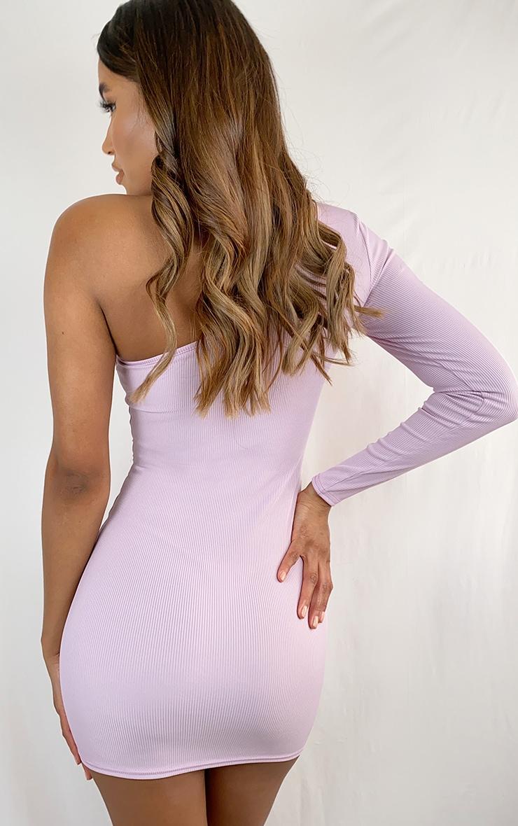 Lilac One Sleeve Underbust Detail Rib Bodycon Dress 2