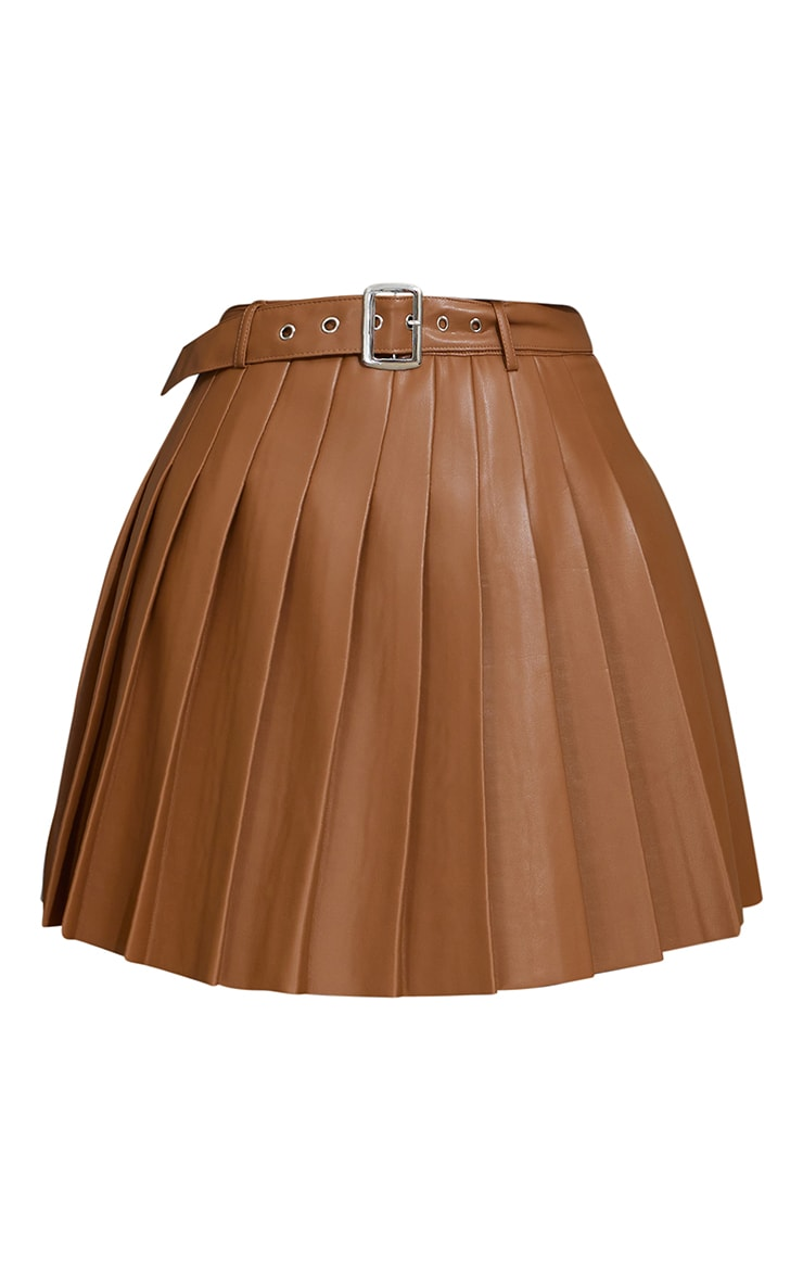 Tan Faux Leather Belted Skater Skirt 6