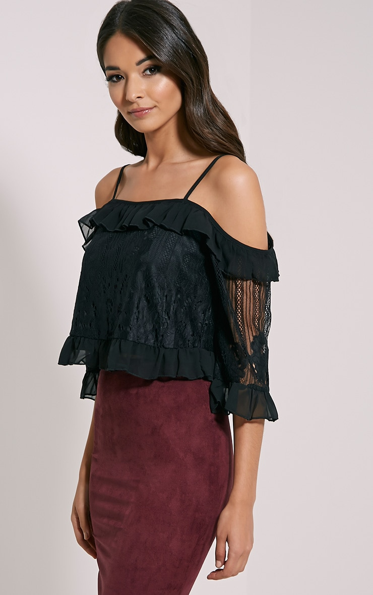 Augusta Black Lace Bardot Crop Top 1