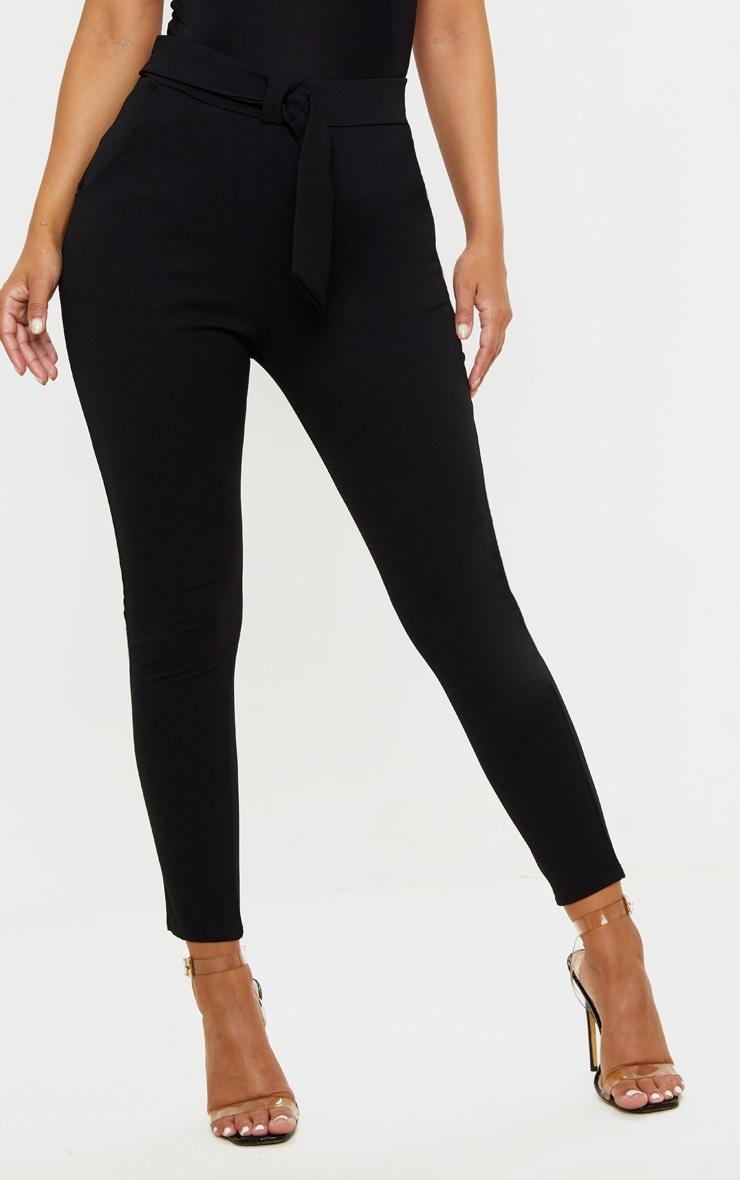 Petite Black Bow Waist Detail Crepe Pants 2