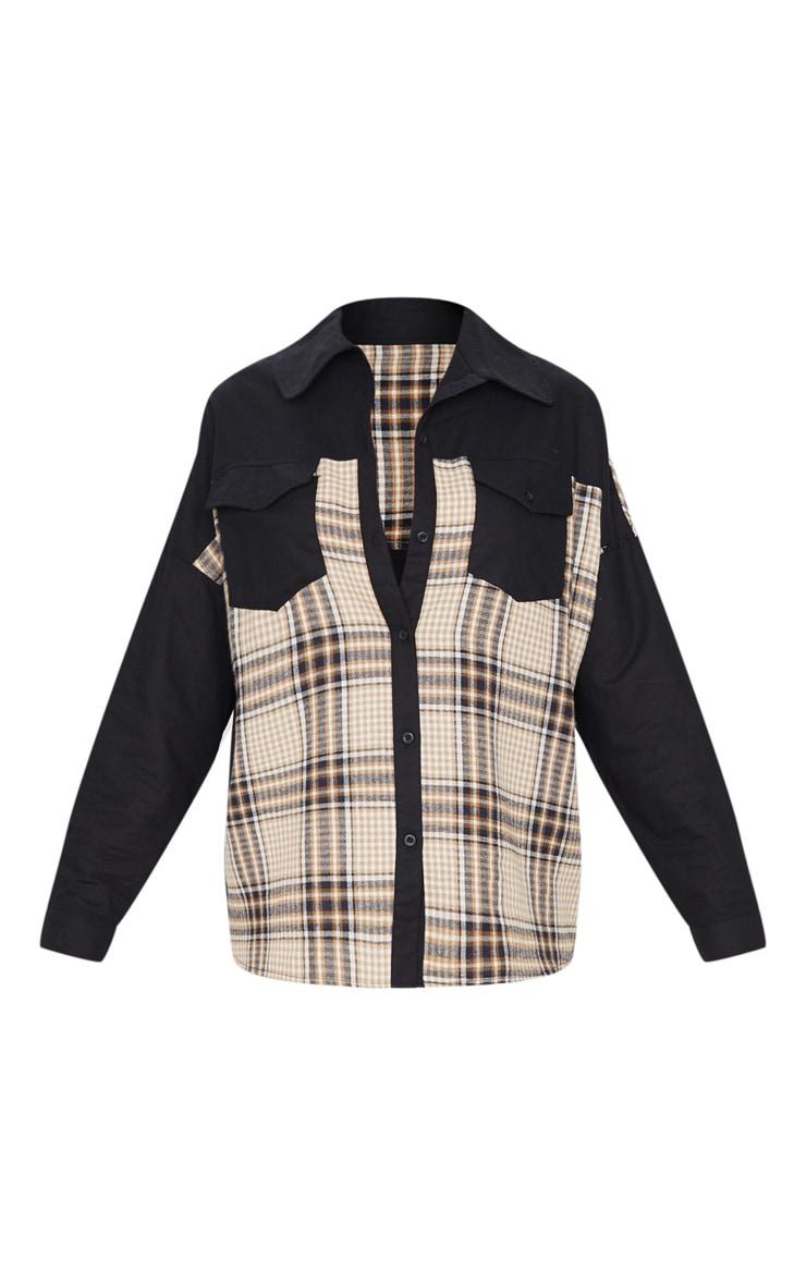 Chemise oversize noire à partie carreaux contrastante 5