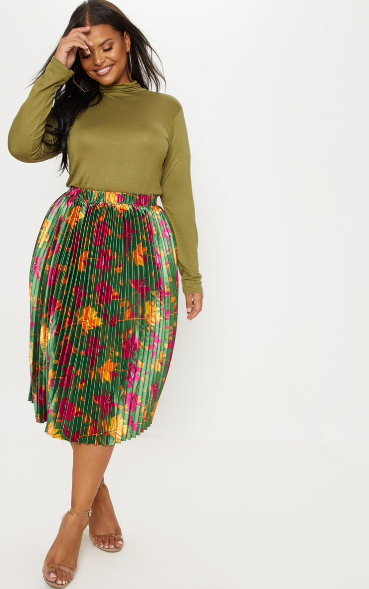 Plus Emerald Green Floral Print Pleated Midi Skirt 1