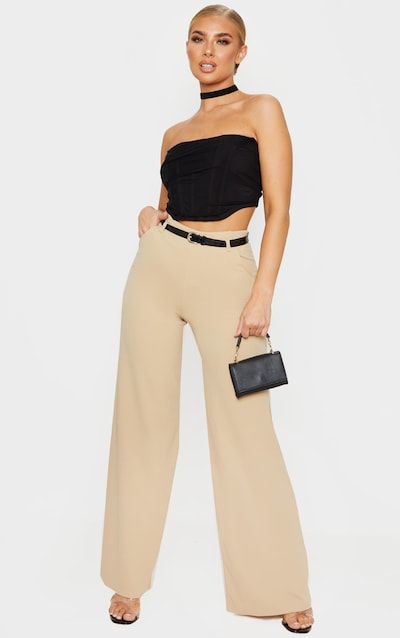 Stone Wide Leg Belted Trouser