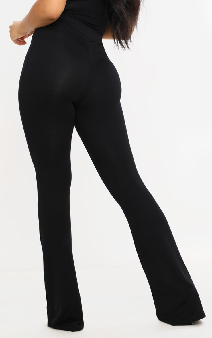 Petite - Pantalon basique en jersey noir à jambes évasées 4