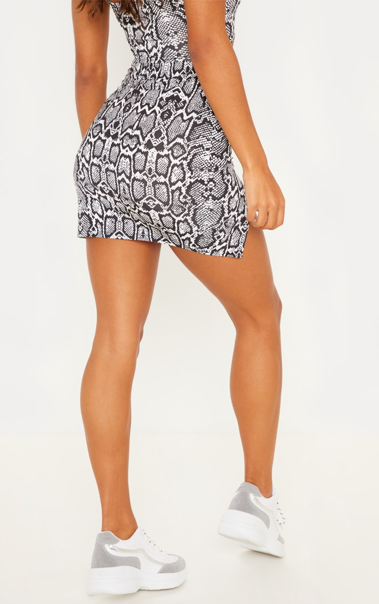 Monochrome Slinky Snake Print Double Split Mini Skirt 4