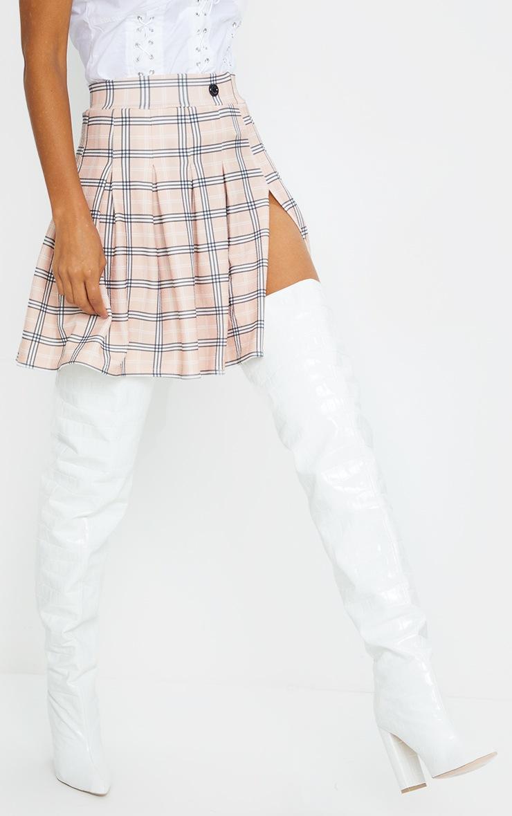 Pink Pleated Check Side Split Tennis Skirt 2